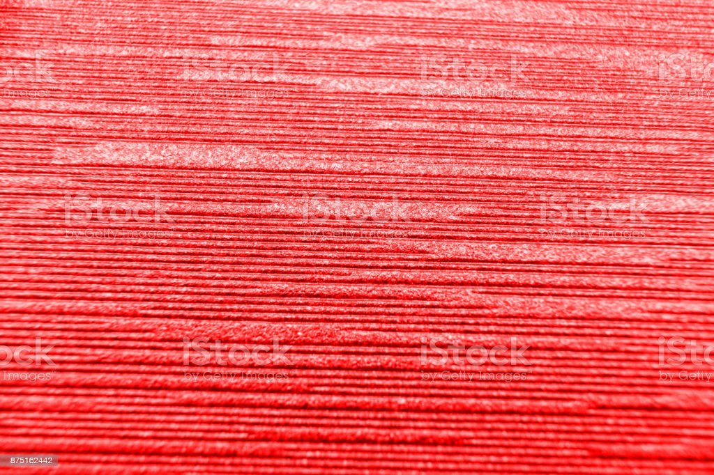 close up red corrugated paper background. stock photo