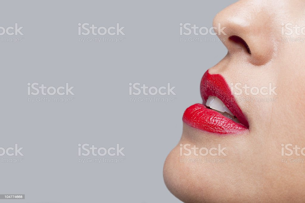 Close up red lips royalty-free stock photo