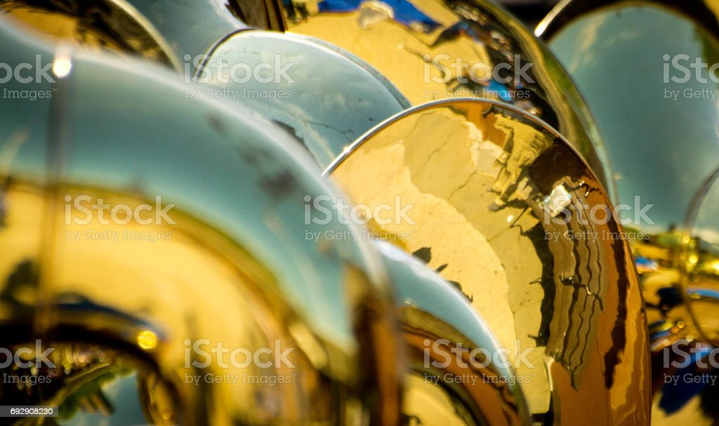 Close up reflections in brass instruments stock photo