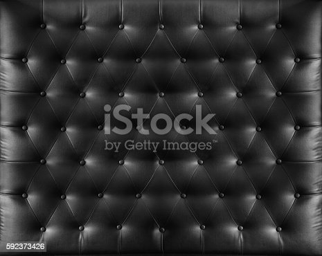 istock Close up retro chesterfield style, Black capitone textile background 592373426