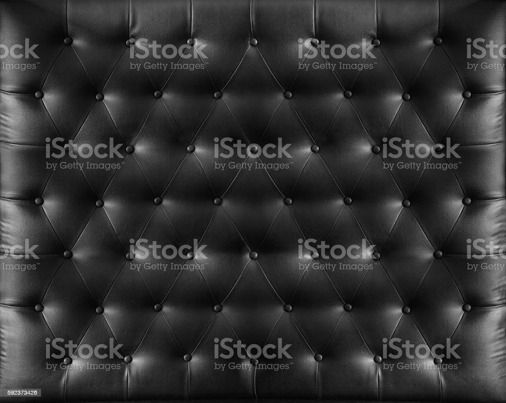Close up retro chesterfield style, Black capitone textile background stock photo