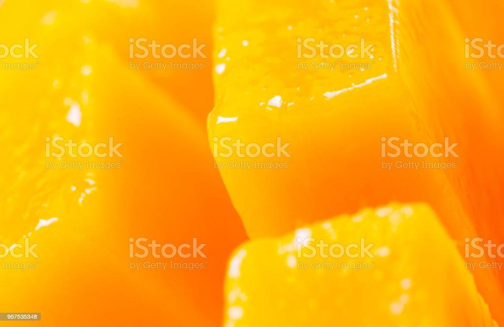 Nahaufnahme Rip Mango Stück Würfel geschnitten – Foto