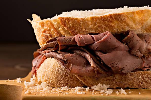 Close Up Roast Beef Sandwich stock photo