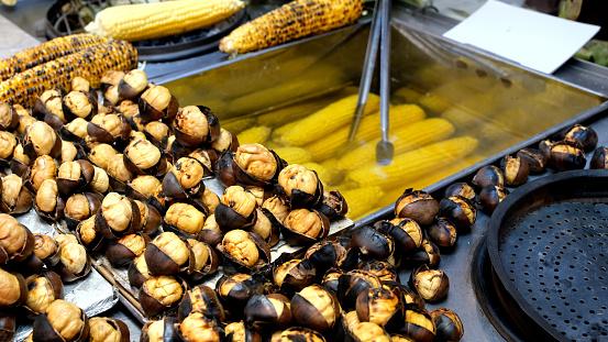 close up roasted chestnut background