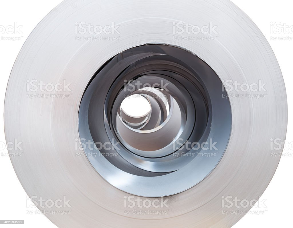 Close up Rolls of metal sheet stock photo