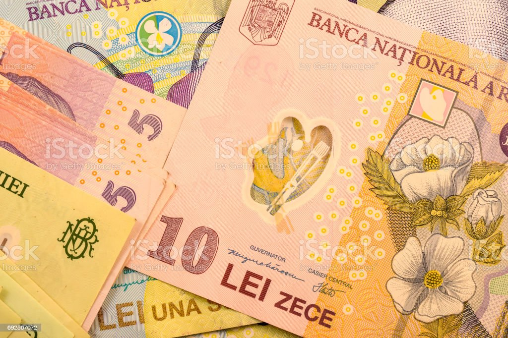 Close Up Romanian Currency Note Lei Or Leu Romania Stock Photo