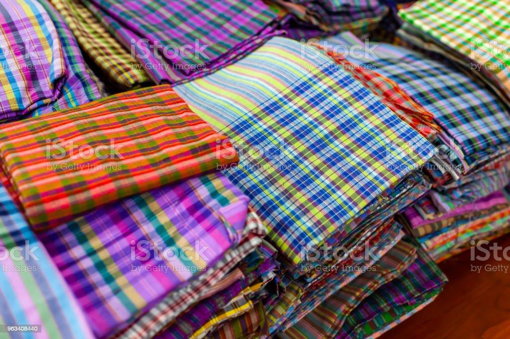 Close Up Sarong Beautiful  Texture thai Traditional silk handcraft style textiles detail pattern fabric fashionable texture - Zbiór zdjęć royalty-free (Abstrakcja)