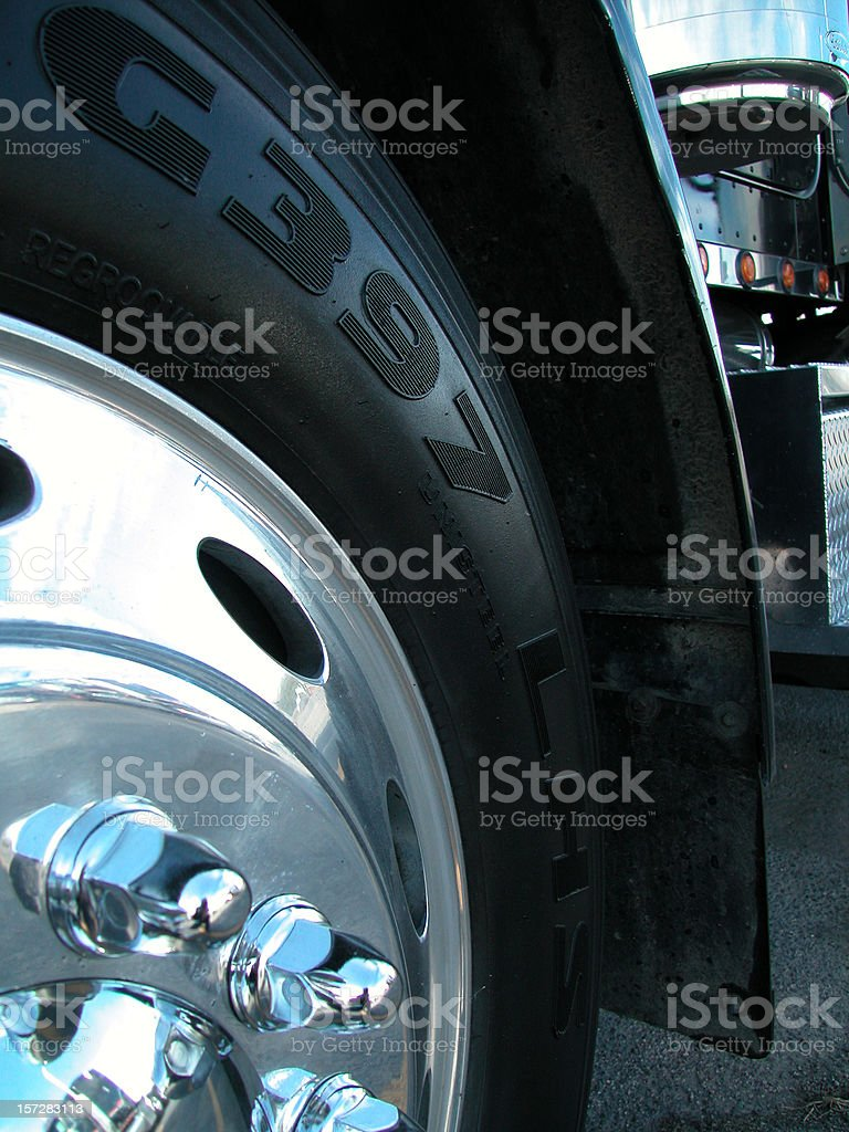 close up semi wheel royalty-free stock photo