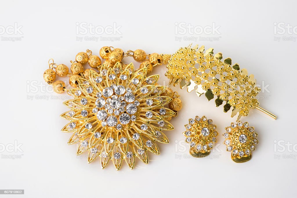 Close up shiny gold  jewelery stock photo