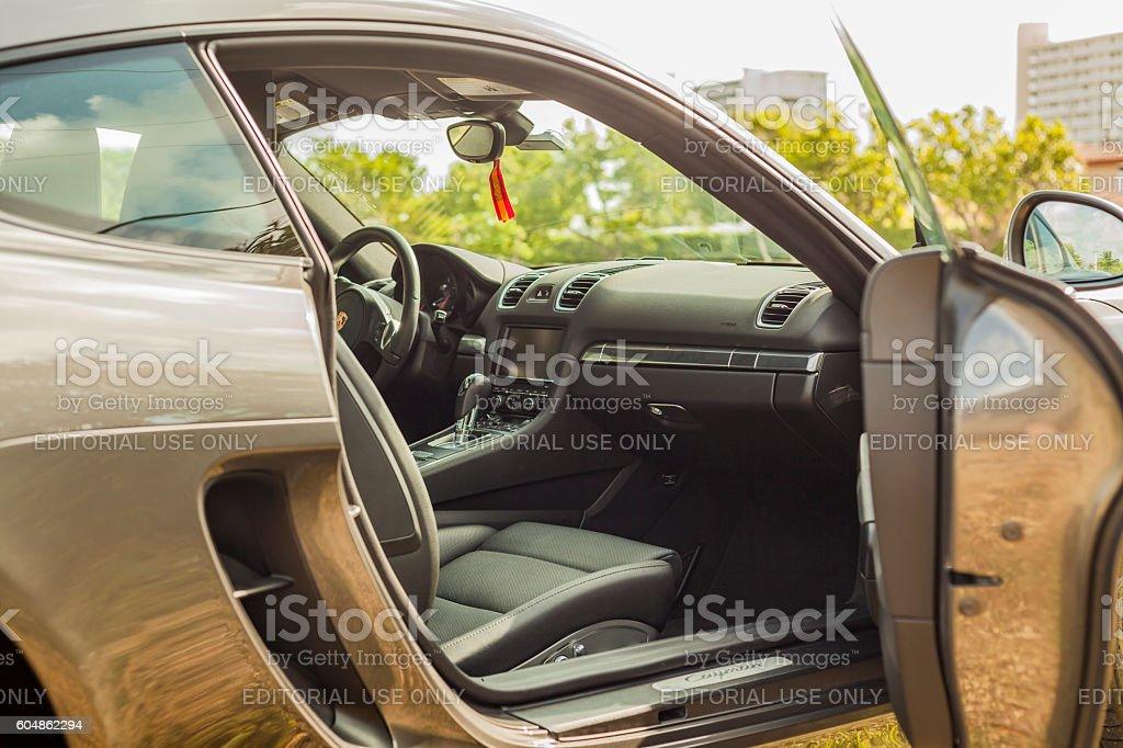 Close up shot inside view of a Porsche Cayman stock photo