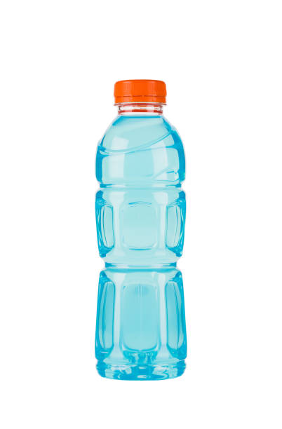 Close up shot of a blue sports drink stock photo