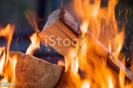 Burning firewood at campfire