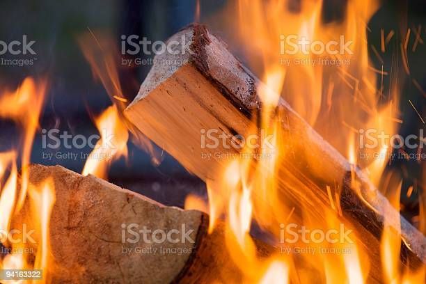 Photo of Close up shot of a burning piece of wood