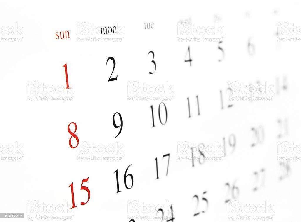 Nahaufnahme Schuss von einem Kalender (zur Seite – Foto