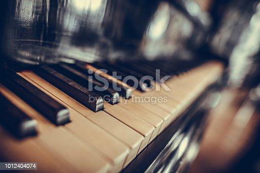 Close up shot of a piano keyboard.