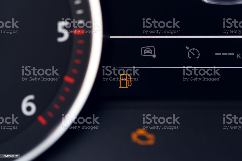 Close up shot of a speedometer in a car. stock photo