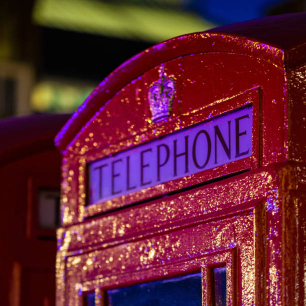 Close up shot of a Telephone Red Box within Covent Garden stock photo