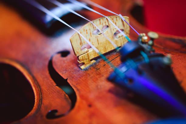 aufnahme einer violine, flachen tiefe des feldes hautnah. buntes bild der violine in nahaufnahme schlüssel. geige vor dem konzert. - philharmonie stock-fotos und bilder