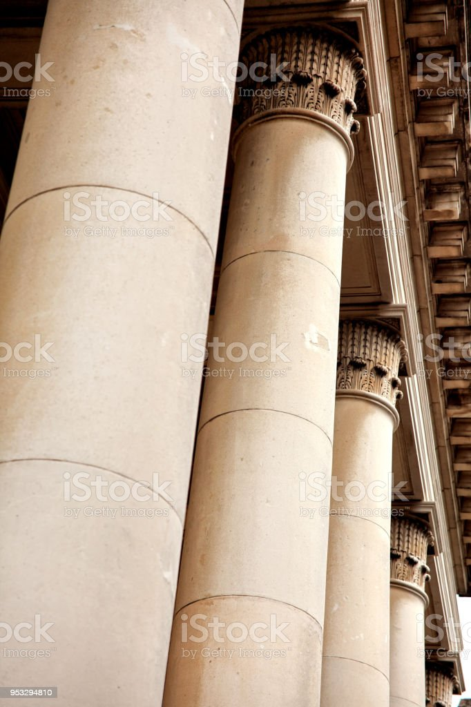 Close up shot of architectural column design from a baptist church in...
