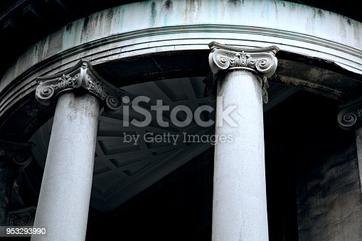 Close up shot of architectural column design from more than 200 years old house  in historic district of Savannah, GA, USA