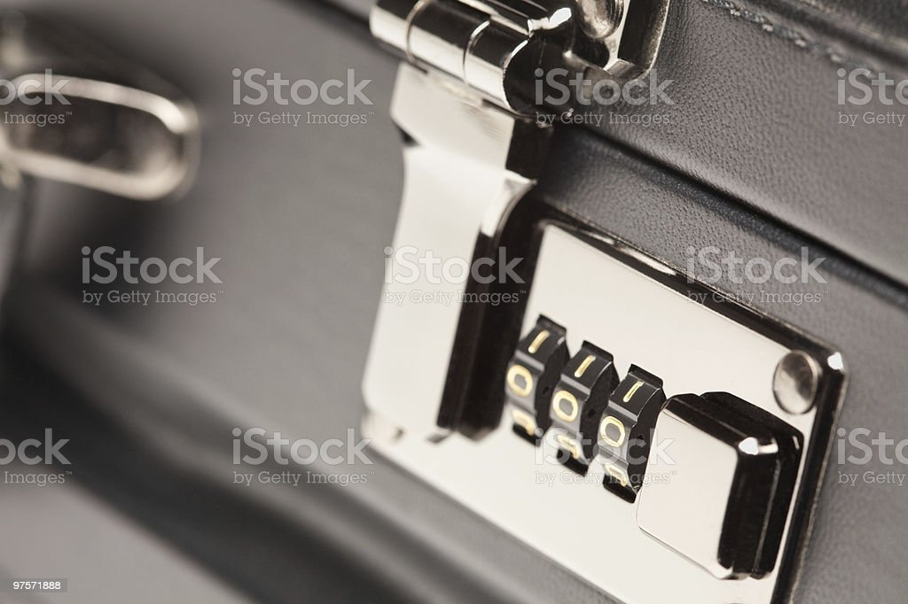 Close Up Shot of Black Briefcase Latch and Lock royalty-free stock photo