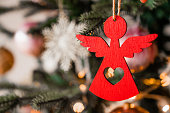 istock Close up shot of Christmas tree decoration angel toy 1187806487