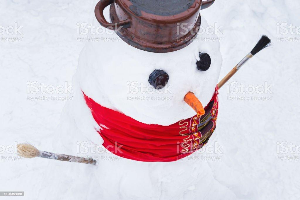 Close up shot of cute snowman. stock photo