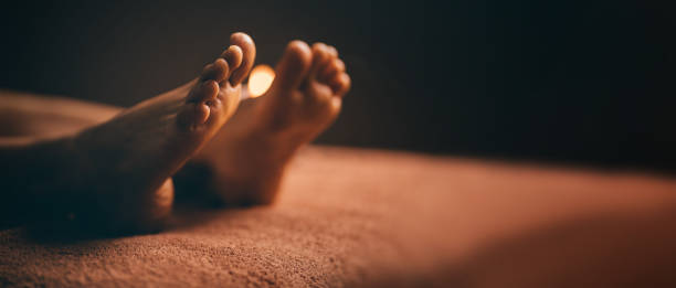 Close up shot of feet at spa before massage session stock photo