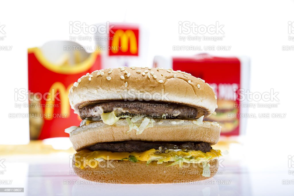 Close up shot of McDonald's Big Mac hamburger stock photo