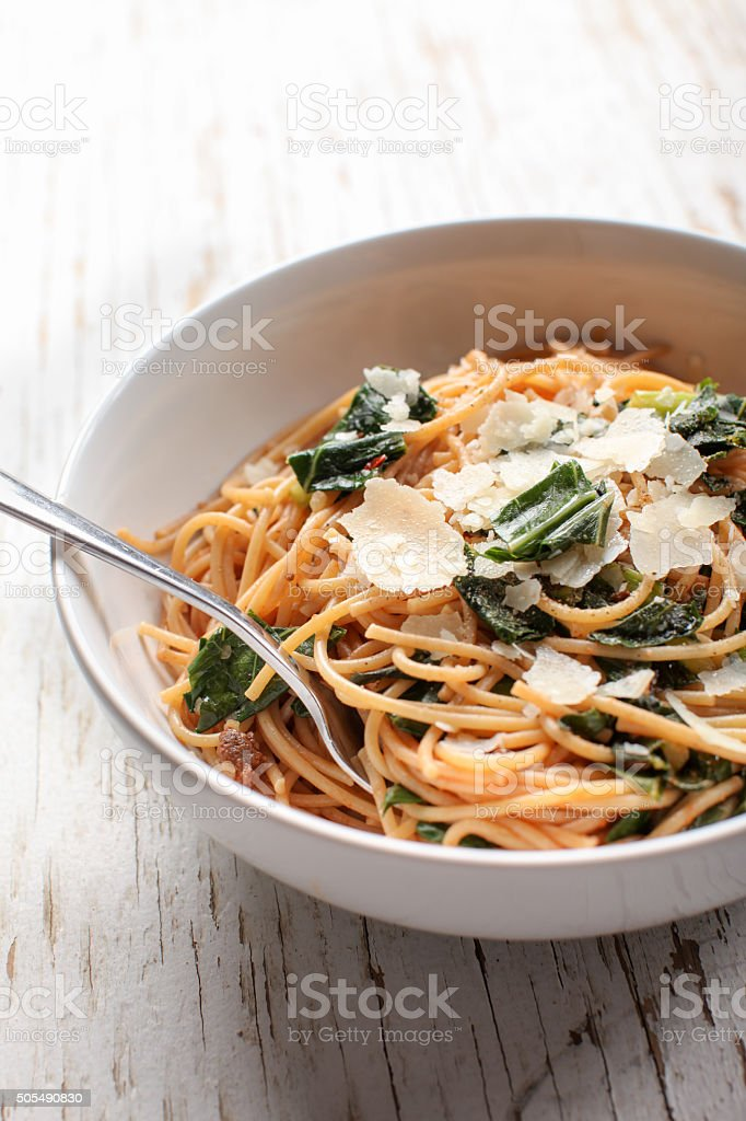 Close up shot of pasta dish stock photo