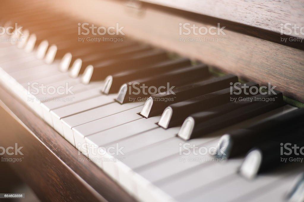 Close up shot of piano keyboard stock photo