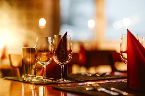 Close Up Shot Of Restaurant Table Setup