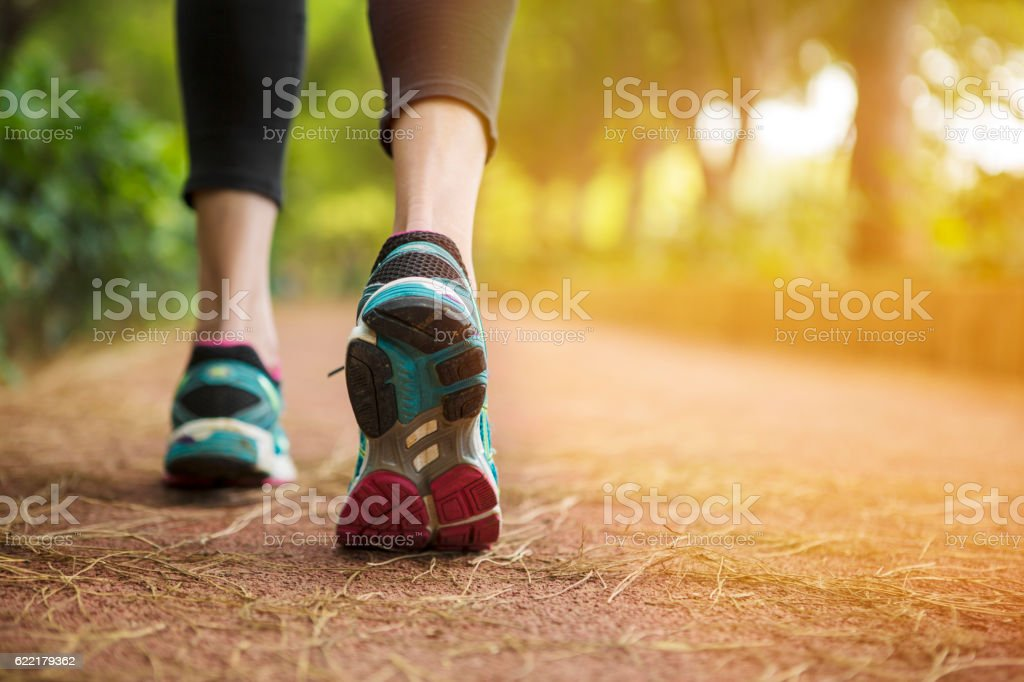 Close up shot of runner's shoes royalty-free stock photo
