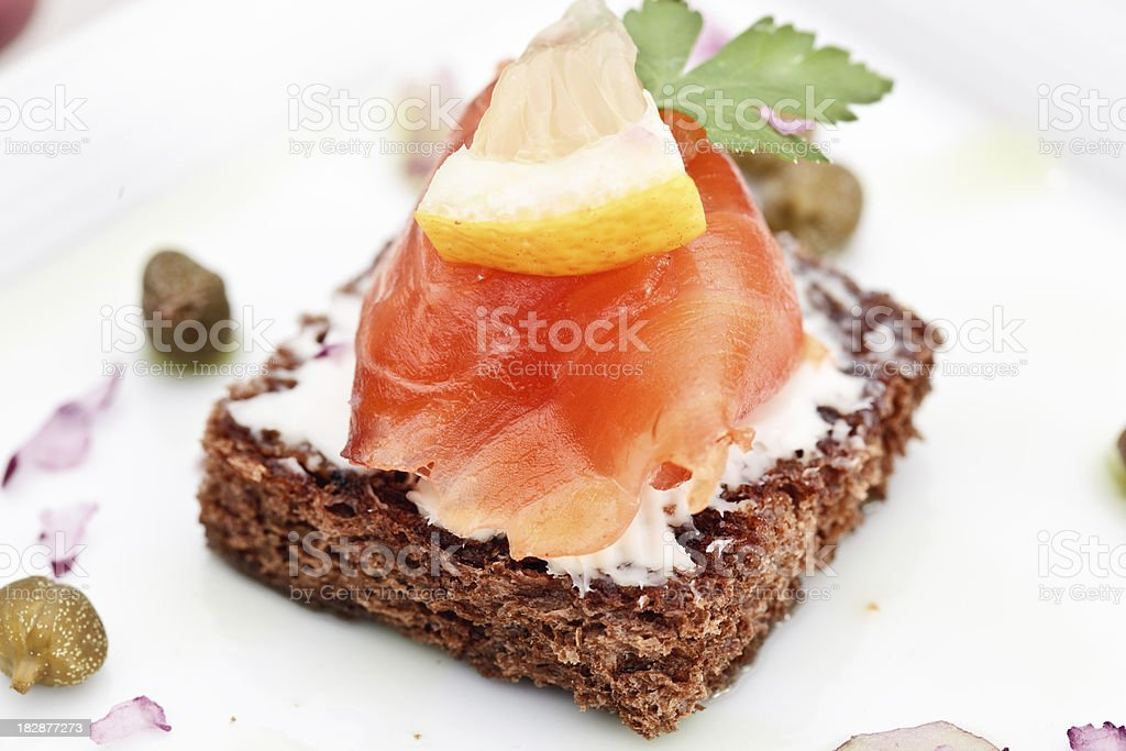 close up shot of salmon on bread royalty-free stock photo
