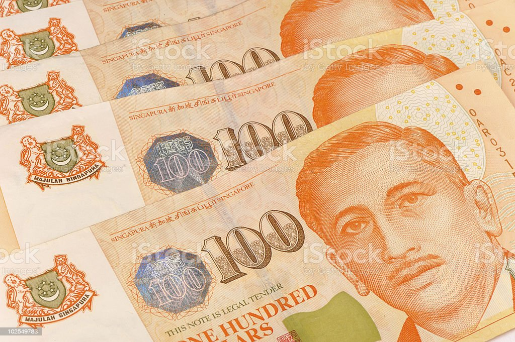 close up shot of singapore dollar notes stock photo