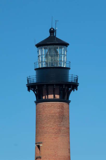 Close Up Shot Of The Curituck Beach Lighthouse, Outer Banks, North Carolina stock photo