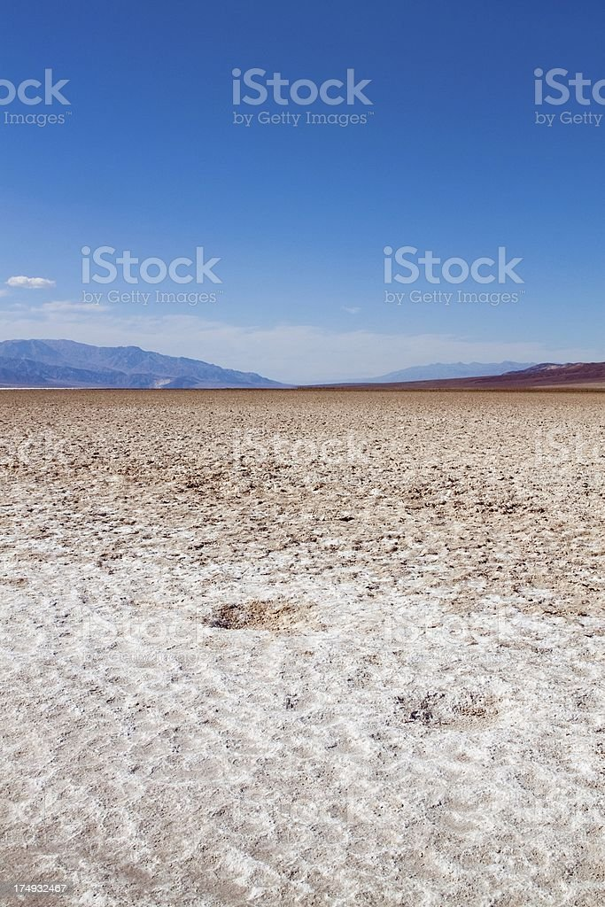 Close up shot of the Salt flats in Death Valley royalty-free stock photo