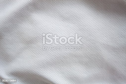 istock Close up shot of white textured football jersey 503073684