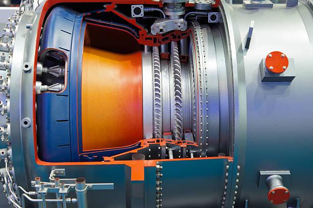 detalle de turbina de gas industrial - compresor motor fotografías e imágenes de stock