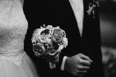 Sarajevo, Bosnia Herzegovina- November 3, 2018: Elegant bride and groom showing their wedding rings on a sunny day.