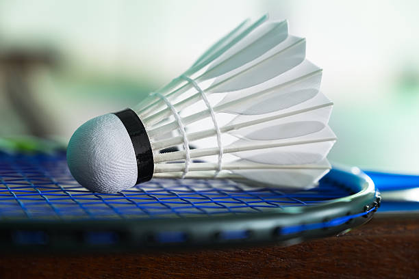 close up shuttlecocks on a racket for a badminton - badminton sport stock pictures, royalty-free photos & images