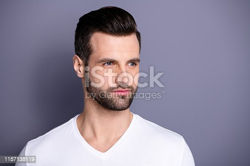 Close up side profile photo amazing he him his macho perfect ideal appearance neat bristle easy-going person calm not talk tell speak say smile, wear casual white t-shirt isolated grey background