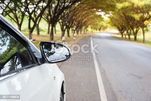 157590217 istock photo Close up Sideview mirror white cars beside the road. 501149604