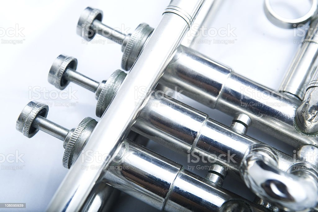 Close up silver trumpet on a white background royalty-free stock photo