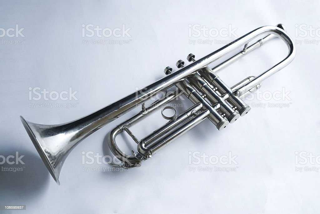 Close up silver trumpet royalty-free stock photo