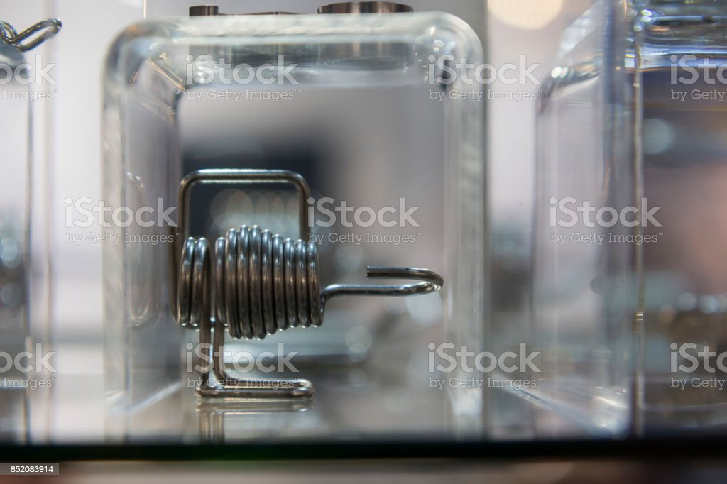 Close up small tube or coil of heat exchanger stock photo
