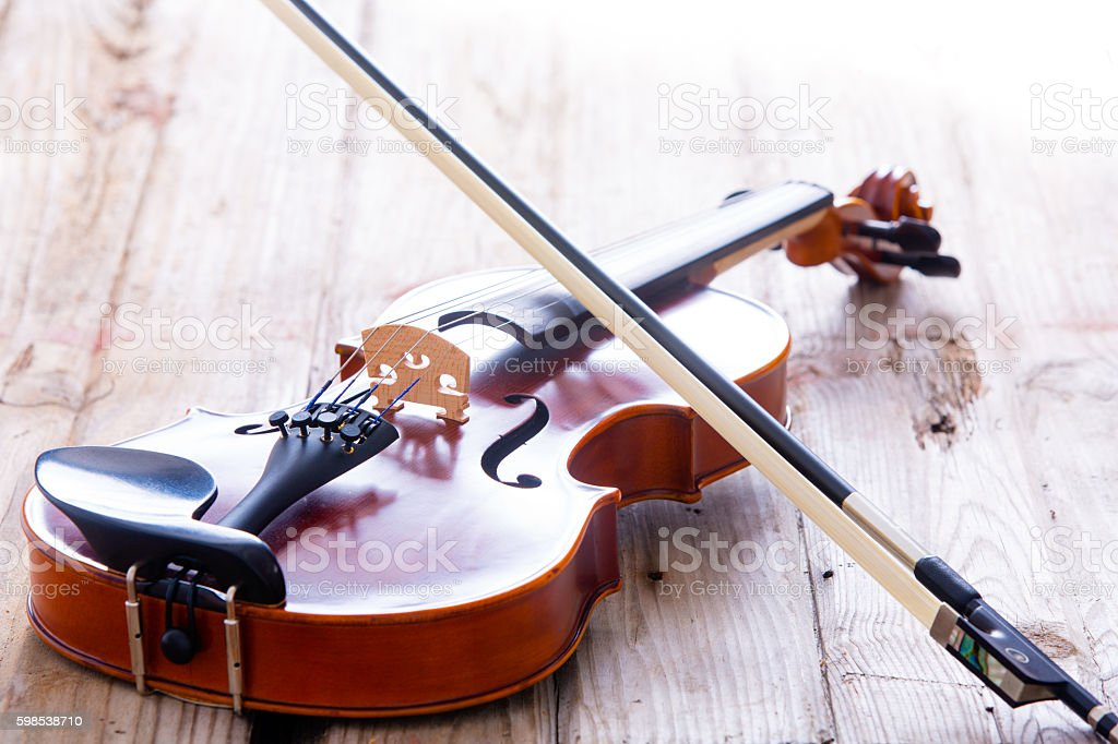 Close up Small Violin for Kids on the Floor photo libre de droits