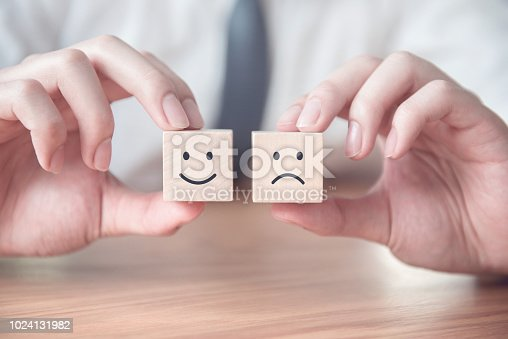 693589426 istock photo Close up smiley and sad face icon on wood cube, Service rating, satisfaction concept. 1024131982