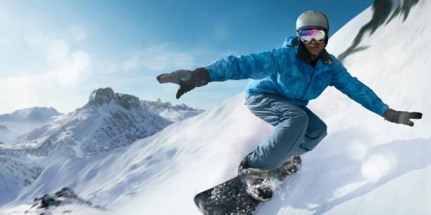 snowboarder bei hoher geschwindigkeit nach unten berghang hautnah - dynamische posen stock-fotos und bilder