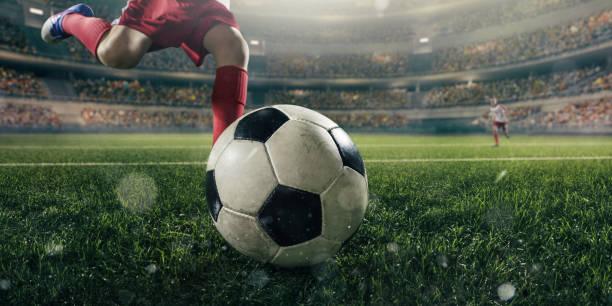 Kinder Fußballspieler mit Ball hautnah – Foto
